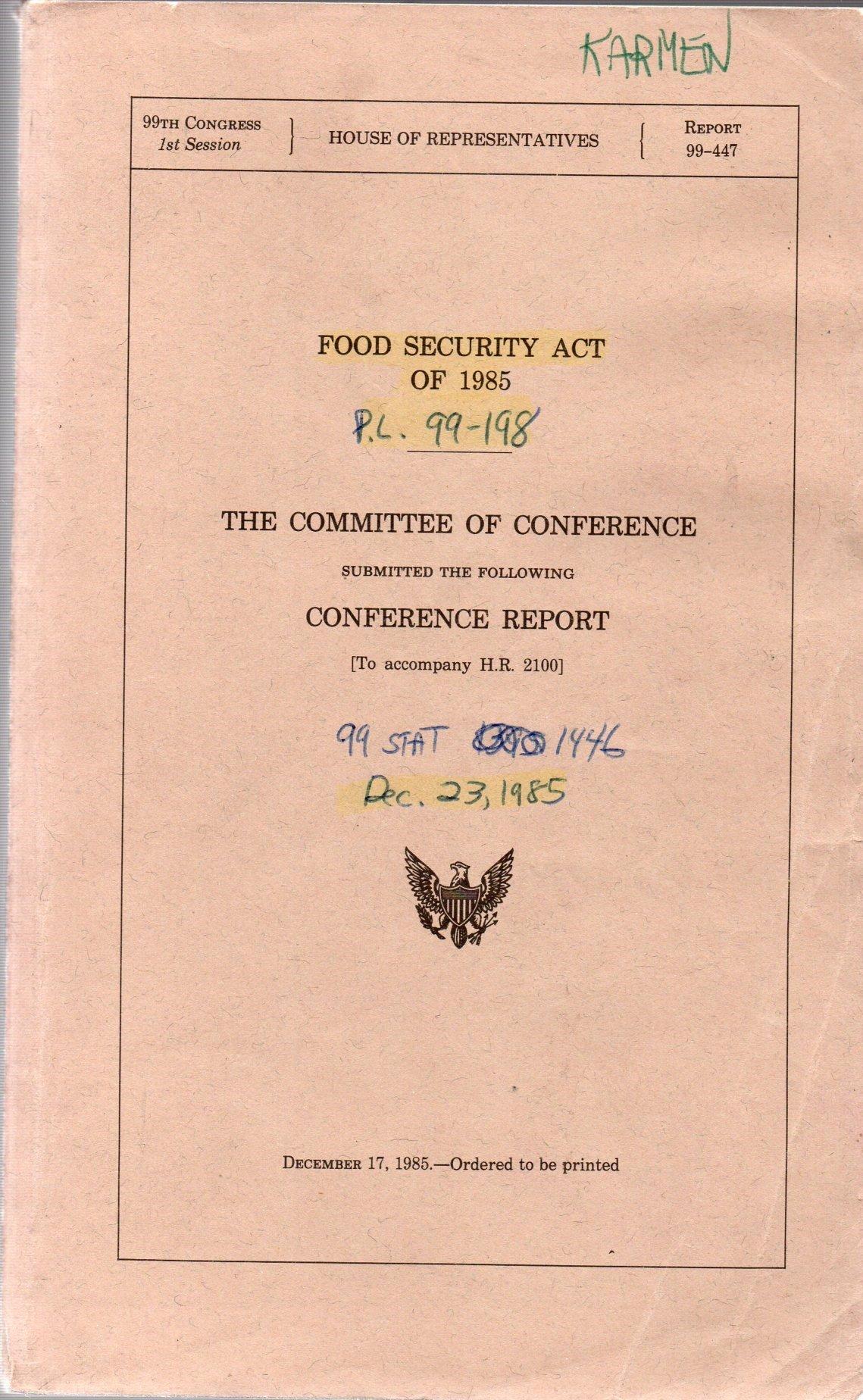 Cover of 1985 Farm Bill Mark Up